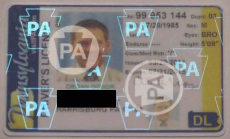 Sample Driver's License with Security Hologram