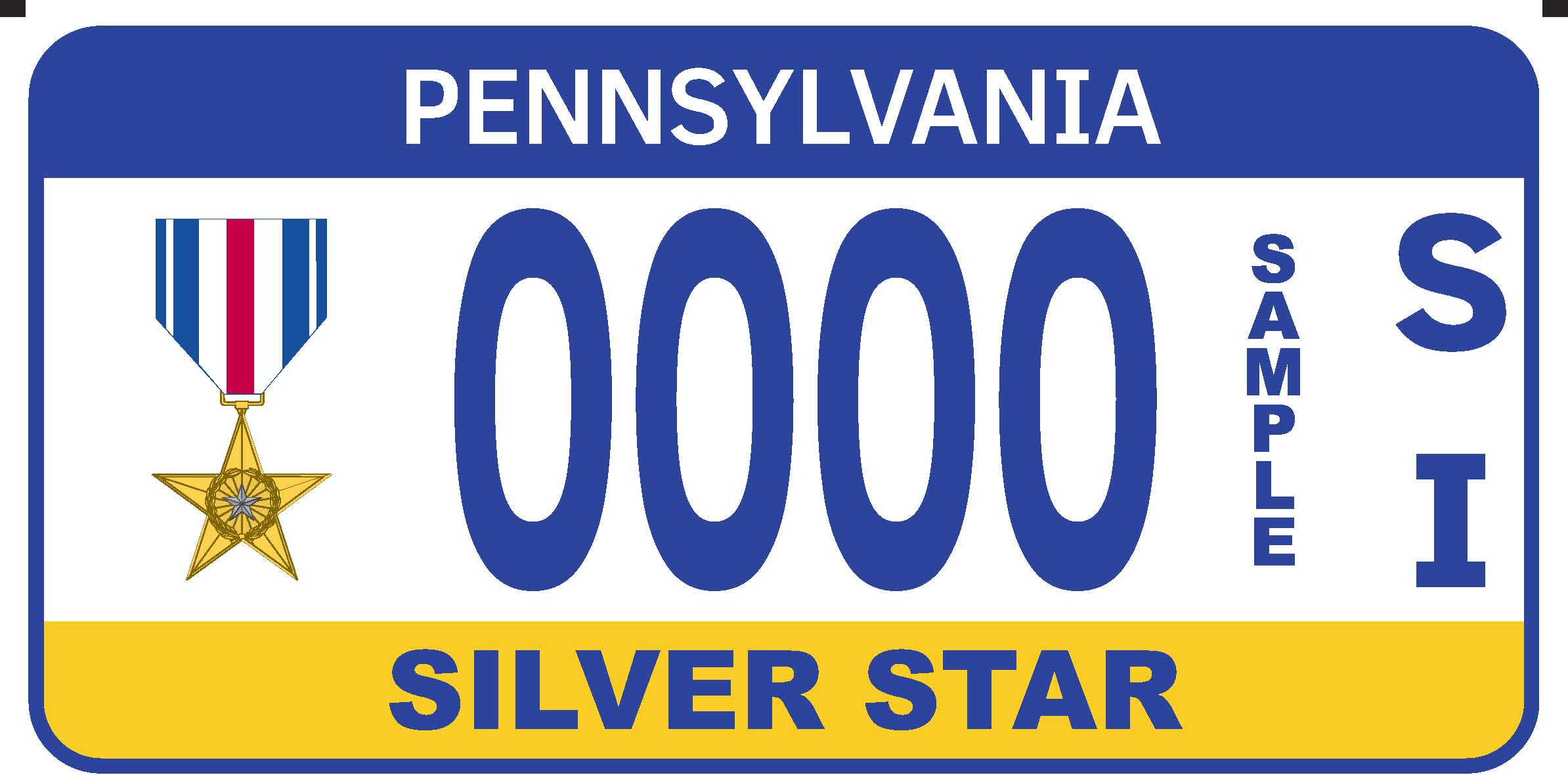 Silver Star Registration Plate