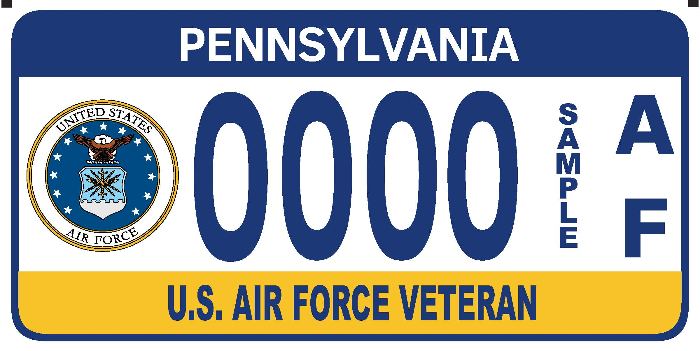 U.S. Air Force Veteran plate